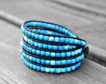 Leather Bracelet Emperor Stone Bracelet Cuff Bracelet Beaded Bracelet Wrap Bracelet