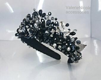 Black Silver crystal crown Bridal crown Wedding crown Crystal tiara Crystal wedding tiara Crystal headpiece Bridal crown Bridal tiara