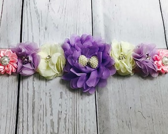 Maternity Sash / Baby Shower Sash / Bridal Sash / Flower Girl Sash / Gender Reveal / Purple / Cream / Pink / Sash / Beautiful Sash / Belly