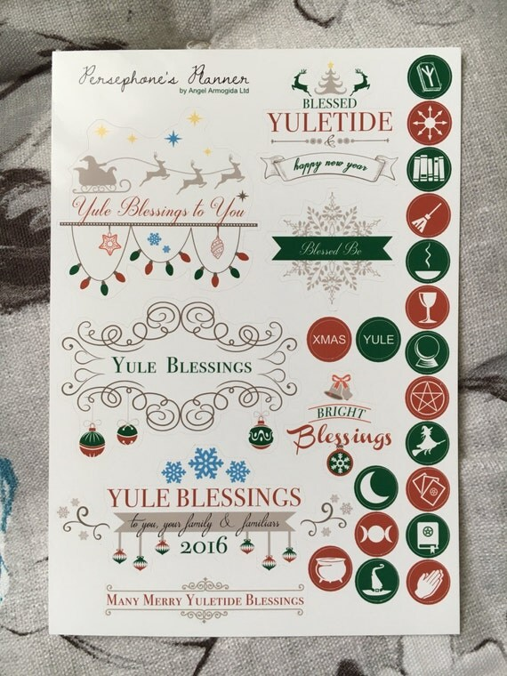 Yule 2016 stickers for planners / greeting cards / journalling / scrapbooking