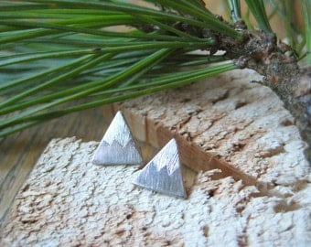 Sterling Silver Single Snowy Mountain Stud Earrings