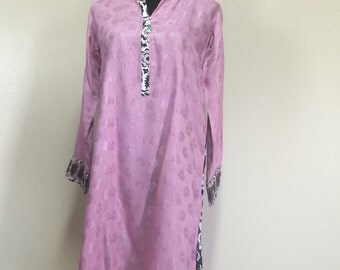 Bohemian Dress Embroidered Silk Kurta Tunic Boho Hippie Dress Indian Pakistani Kurti Kameez, Comfortable for Maternity too
