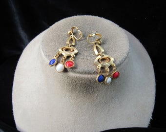 Vintage Goldtone Red White & Blue Stone Clip Dangle Earrings