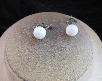 Vintage Pair Of White Beaded Clip/Screw Back Earrings