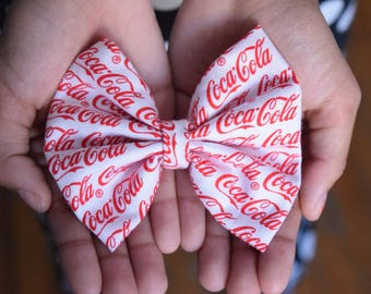 Coca Cola Hair Bow - Cosplay Hair Bow - Vintage Hair Bow - Girls Bow - Kids Gift - Girls Gift