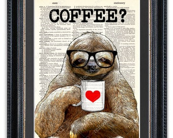 Sloth with Coffee, Dictionary Art Print, Sloth Art Print, Sloth Decor, Sloth Wall Art, Red Heart