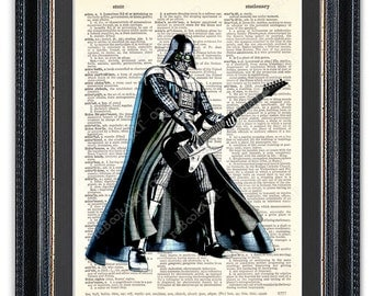 Darth Vader Playing Guitar, Dictionary Art Print, Star Wars Art Print, Star Wars Darth Vader, Gift for Him