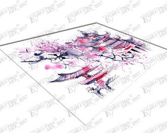 illustration art Cherry blossom pink JAPAN Print on Canvas X1062