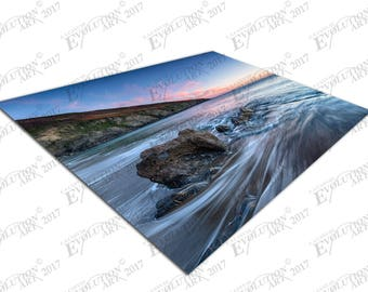 Print on Canvas Sunset Hemmick Beach Gorran Haven south Cornwall X1317