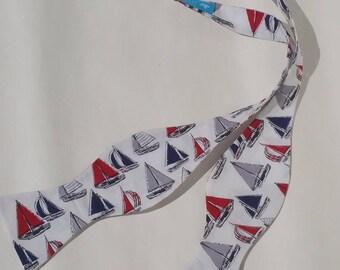 Adjustable Self Tie Bow Tie Sailboats Nautical Sea Beach