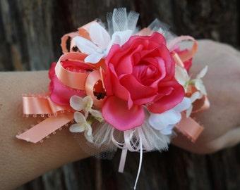 Pink Peach Blush Wrist Corsage Wristlet White Wedding Prom Winter Formal Dance Bridesmaid