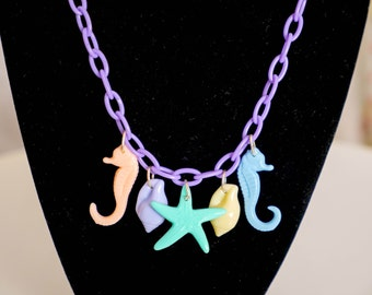 Pastel Mermaid necklace with resin charms – So Kawaii Decora Fairy Kei Sea Punk
