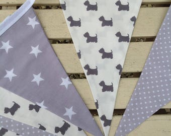 Grey cotton bunting, grey fabric bunting, grey bunting, dog lover gift, Scottie dog  bunting, handmade bunting, dog gifts, uk sellers only