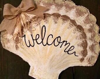 Beach decor, burlap door hanger, Shabby chic decor, seashell, nautical decor, seashell door hanger, vintage gifts,