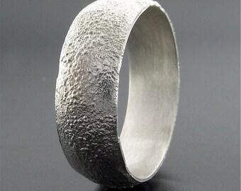 Lunar Rustic matt court 8mm silver band for a mans wedding ring