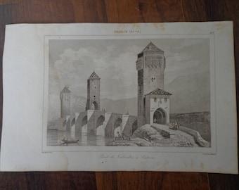 """Lemaitre Direxit, 1845 """"Pont de Valentre a Cahors"""""""