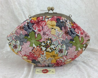 Flowers Mauvey frame hand bag purse bag clutch fabric handmade in England
