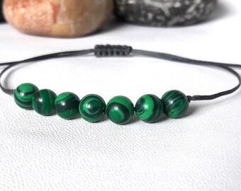 Men Beaded Bracelet Malachite Bracelet Yoga Bracelet Healing Bracelet Gemstone Therapy Heart Chakra Bracelet Energy Bracelet green bracelet