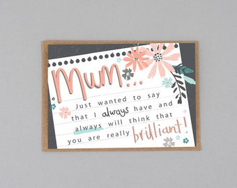 Mother's Day Card, Brilliant Mum Card, Mothering Sunday Card, Card for Mum, Card for Mom, Card for Mummy