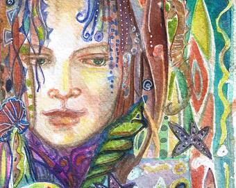 "Goddess series ""Sea Change Goddess""  Art Print of original watercolor"