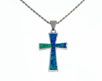 silver cross pendant with blue opal,cross necklace,cross jewelry,blue opal pendant,silver christian Jewelry,statement pendant,boho chic