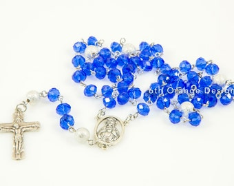 Blue and Silver Handmade Rosary