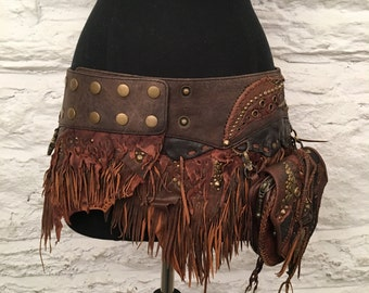 The Mayra Leather Fringe Skirt- Brown
