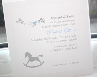 10 Personalised Handmade Christening Baptism Invitations Rocking Horse (Blue or Pink version) by Charlotte Elisabeth CI060