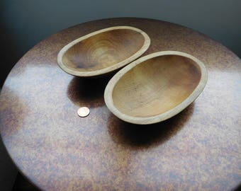 "Two Handcarved Wooden Bowls.  Oval.   7 "" long.  Maine."