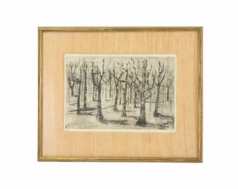 """Vintage """"Forest"""" 1962 Black & White Etching Abstracted Trees by Breen"""