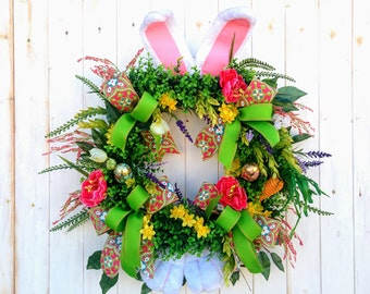 Easter Wreath, Easter Bunny Wreath, Easter Door Wreath, Easter Wreaths, Bunny Wreath, Spring Decor, Spring Wreaths, Easter Decorations