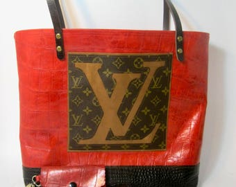 Leather Tote w/ Upcycled Vintage Louis Vuitton patch pocket! lined, detachable change purse/key chain, outer pocket! 100% handmade in USA