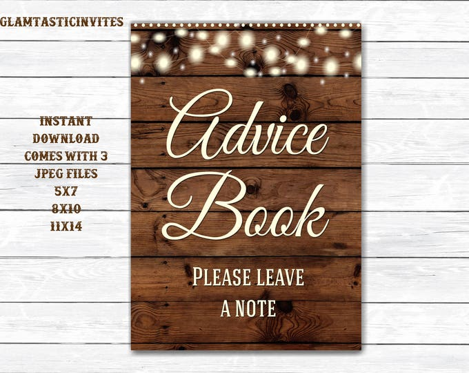 Advice Book sign, Rustic Advice Book Sign, Rustic Wedding Sign, Rustic Bridal Shower Sign, Rustic Decor, Book Sign, Digital Sign, Printable