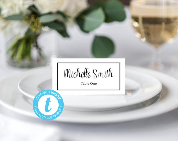 Place Card Template, Food Tent Template, Wedding Place Cards Template, Wedding Template, Cursive Script, Black, White, Modern, Elegant, DIY