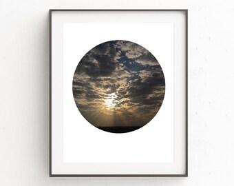 Cloud Wall Print, Cloud Decor, Photo Decor, Sunrise Photography, Photography Wall Art, Circle Wall Decor, Wall Art Printable, Print Art