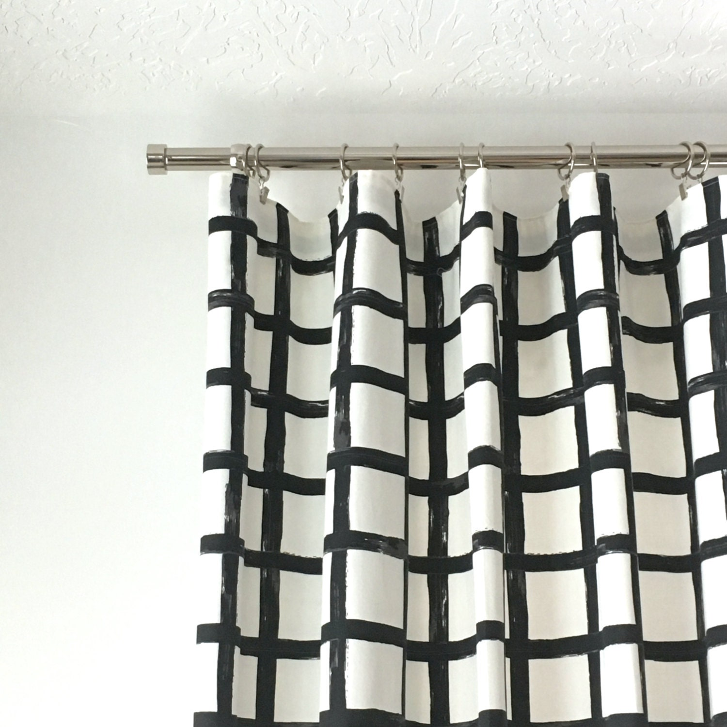 Black and white checked curtains - 1