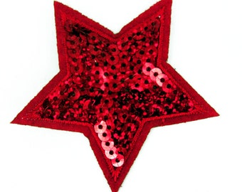 Red Sequin Star Embroidered patch Sew on cloth badge Applique Patch P42
