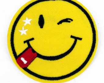 Large Smiley face Smile Sew Iron on Patch Bags Jeans Clothes tongue Blob Customised clothing