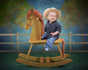 Digial background backdrop child newborn baby farm rocking horse.