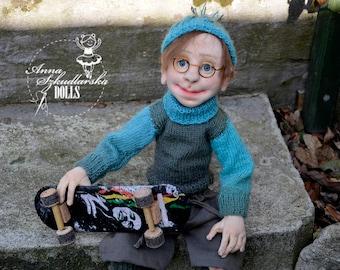 Handmade Doll- Oscar -50cm (OO 21'17) - textile doll- fabric doll- rag doll- home decoration- handmade toy-cloth dolls-fabric dolls