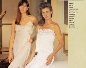 Lingerie Pattern - Slips, Camisole, Hi-Cut Panties, Teen Bra Womens UK/AUS 8 - 22, Girls Size 2 - 12  - Justknits 9613 (P010)