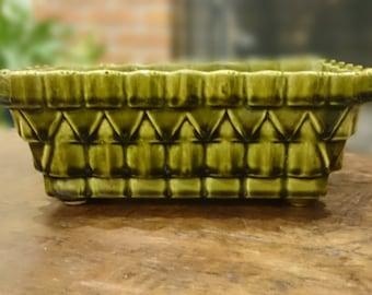 Beautiful Vintage UPCO  Pottery Rectangular Planter/ Vase/ 1028/ Mid Century Modern Avocado Green Pyramid/ Ungemach Pottery