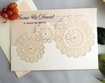 Personalized floral lace laser cut pocket blush pink swarovski pearlized vellum layered Wedding Invitation Free Shipping