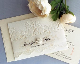 Personalized white Floral lace embroidery laser cut printed vellum band pearl rhinestone  tri folding Wedding Invitation Free shipping