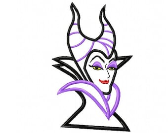 Maleficent Applique Embroidery Design, 5 Sizes, Instant Download