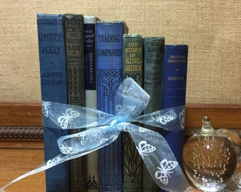 BLUE Vintage BOOK COLLECTION - Old Books Decoration - Interior Design Shelf Staging - Blue Home Decor - Custom Sourced Books