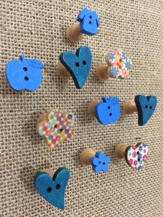 BLUE Push Pins - FREE UK Shipping - Decorative Blue Button Push Pins - Bright Blue Novelty Push Pins - Funky Boys Push Pins - Thumb Tacs