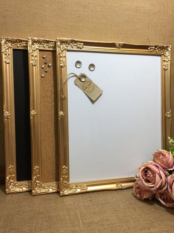 GOLD Ornate Framed Notice BOARD / Metallic Frame Message Board / Bulletin Board / Notice Board / Vision Board / Rose Gold - Copper - Silver