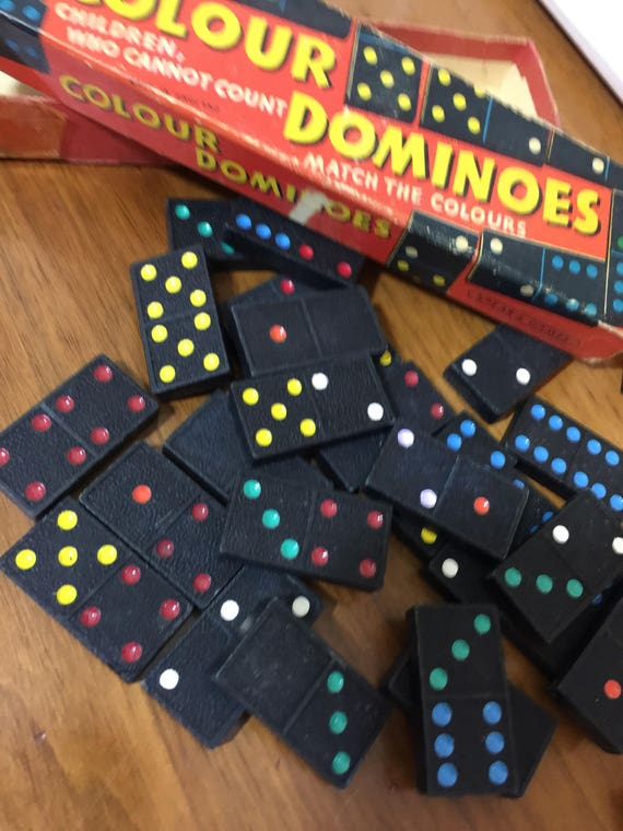 VINTAGE DOMINOE SET Double Six - Wooden Box Set of Black Acrylic/Resin Dominoes with Colourful Dots in Original Retro Box - Children's Toy