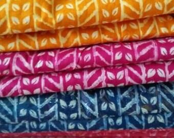 Fabric by the yard, Folk Print, Summer colors, Indian cotton Fabric, Leaf leheriya Print, 4 color ways, block printed style, Jaipuri print